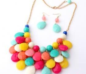 New Fashion Water Drops Bib Necklace And Earrings Set ,Bubble Bib Statement Holiday Party Wedding Necklace,Bridesmaid Gift free shipping