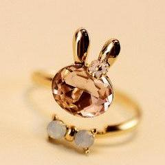 Infinity Rabbit crystal butterfly knot opening ring